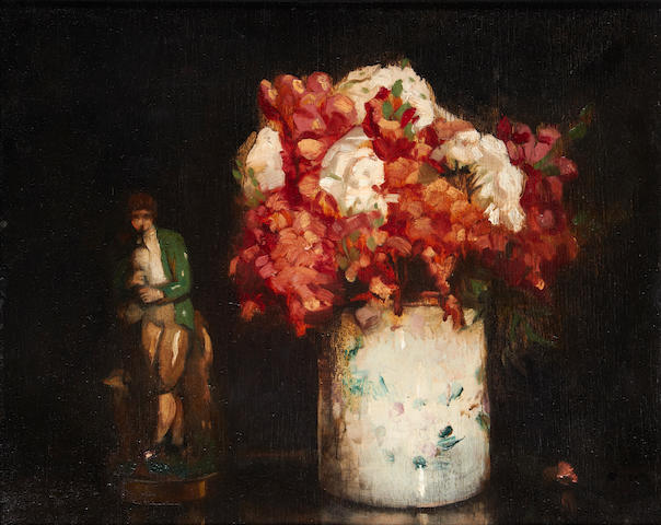 William George Robb (British, 1872-1940) Still life with flowers and figurine