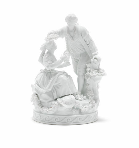 A Meissen figure of a pair of lovers (in the white)