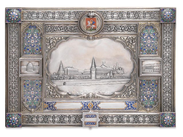 Silver and enamel photo album cover, Ovchinnikov, 1890
