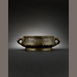 A gilt splashed, bronze incense burner Xuande six-character mark