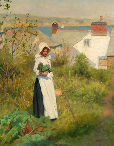 Edwin Harris, RBSA (British, 1855-1906) A Cornish cottage garden