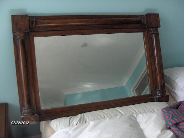 A Victorian rosewood overmantle mirror