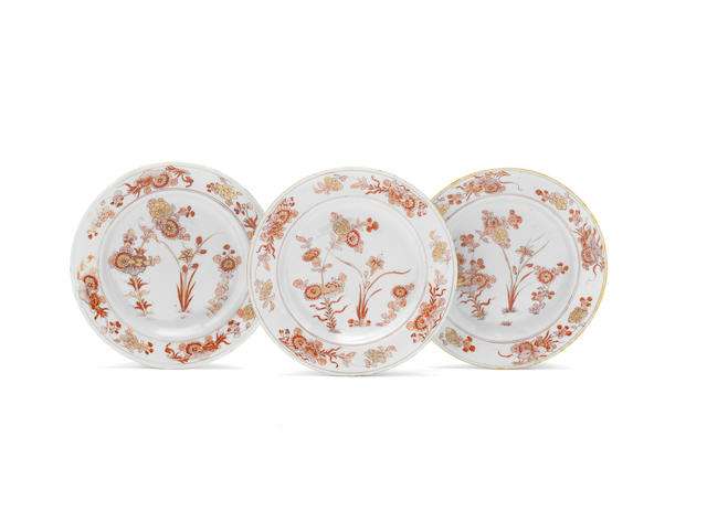 Three Chinese Export porcelain plates from the Japanese Palace, circa 1700-20