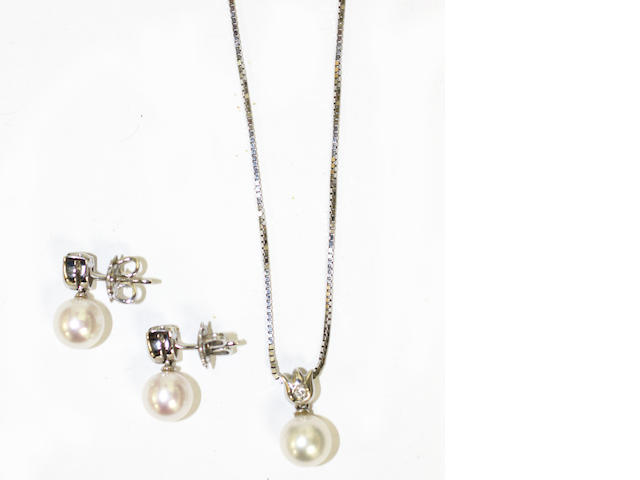 A suite of cultured pearl and diamond jewellery, (3)