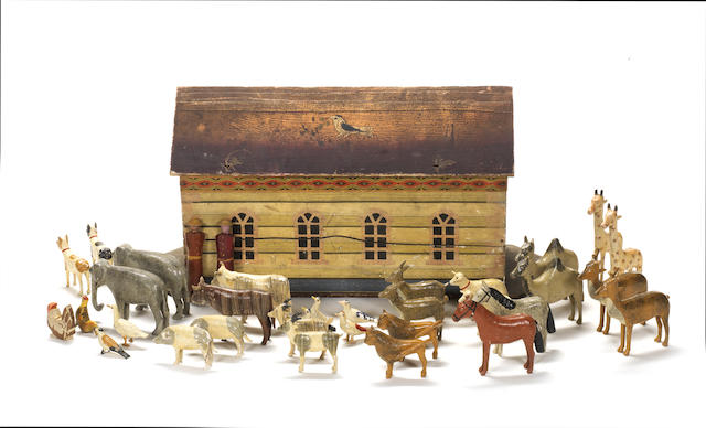 Wooden painted Noah's Ark and animals, German 1880's