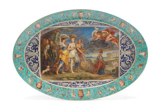A Vienna oval dish, circa 1813