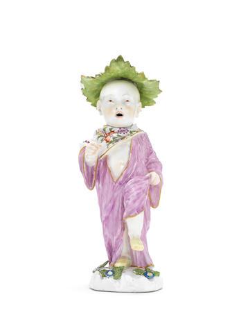 A Meissen nodding figure of an Oriental boy, circa 1745