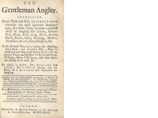 GENTLEMAN ANGLER The Gentleman Angler: Containing Short, Plain and Easy Instructions, first edition, 1726