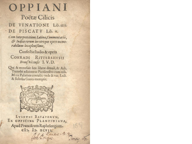OPPIANUS  De venatione Lib. IIII. De piscatu Lib. V, 2 parts in one vol., 1597