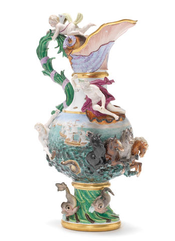 A massive Meissen ewer emblematic of Water, mid-19th century