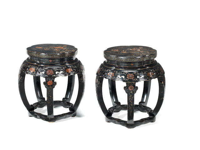 A pair of lobed polychrome lacquer stools Qing Dynasty