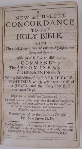 BIBLE, in English, Authorised version The Holy Bible, Containing the New and Old Testament, 1619; and Vavasor. New Concordance... 1673 (2)