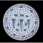 "A large Iznik rimless pottery ""Grape Dish"" Turkey, circa 1570"