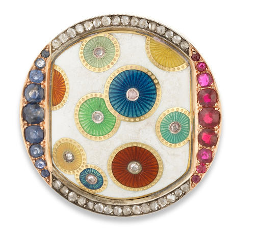 An aesthetic movement gem-set and enamel gold brooch Faberge, workmaster Henrik Wigstrom, St. Petersburg, circa 1900