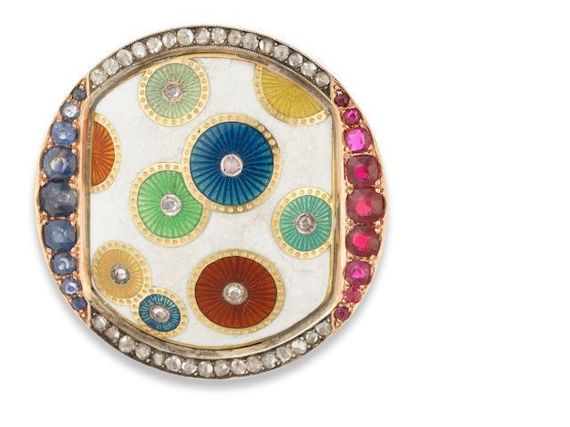 An aesthetic movement gem-set and enamel gold brooch Faberge, workmaster Henrik Wigstrom, St. Petersburg, circa 1900