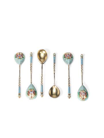 A set of six silver gilt and enamel coffee spoonsMariya Sokolova, Moscow, 1908-1917