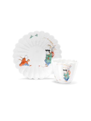 A Meissen lobed beaker and saucer from the Japanese Palace, circa 1730