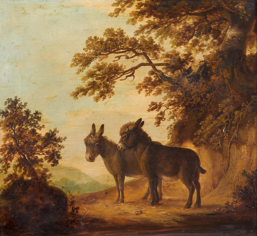British School, circa 1820 Two donkeys in a landscape