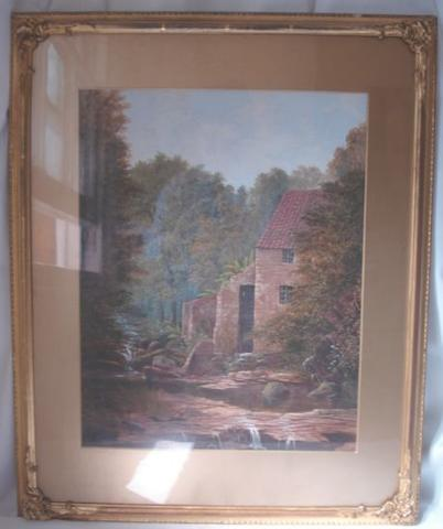 19th Century School The Old Watermill, oil on paper, another oil after Birkett Foster and two watercolours of ships. (4)