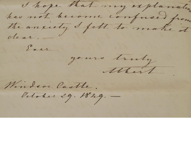 "ALBERT, Prince Consort Autograph letter signed (""Albert""), to Lord Carlisle, with a file of related letters and memoranda, 1849"
