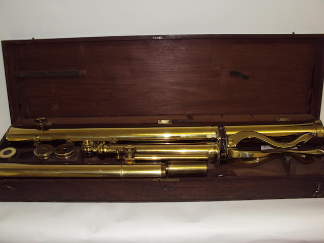 A Gilbert & Co, London, brass refracting telescope