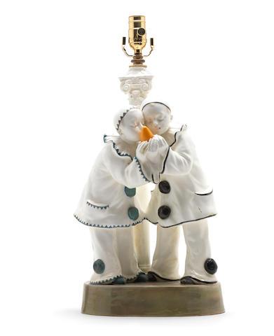 Lavergne for Goldscheider  A Glazed Earthenware Figural Lamp Base, circa 1920