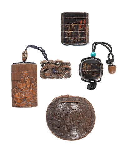 Three inro and a kinchaku 17th to 19th century