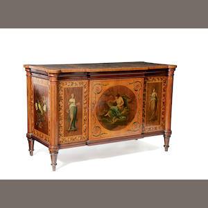 A late 19th Century Sheraton Revival painted satinwood dwarf side cabinet,