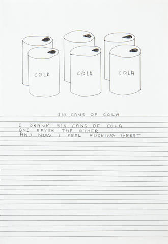 David Shrigley (British, 1968) 'Untitled' (Six cans of cola) 2003