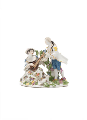 A Meissen group of lovers, circa 1745-50