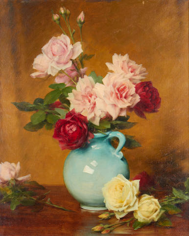 Gustave Bienvêtu (French, active 1880-1920) Still life of roses