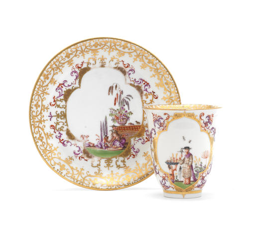 A Meissen beaker and saucer ( more research on beaker)