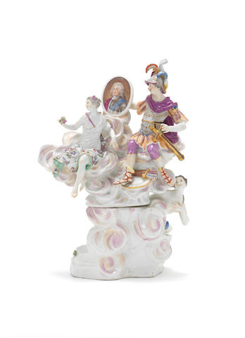 A Meissen allegorical group of 'Spring' on a matched base, circa 1755-60