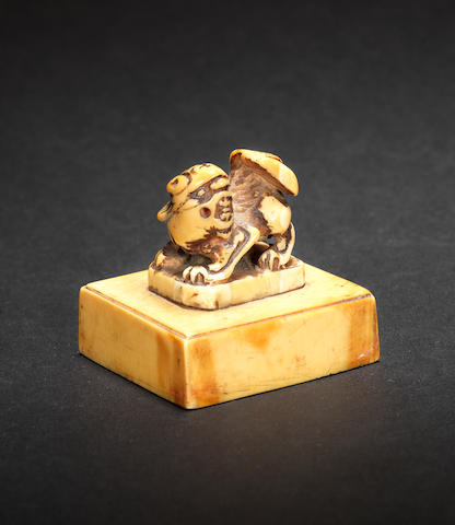 An unusual ivory square seal Probably Ming Dynasty
