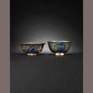 Two white metal bowls Probably 20th century