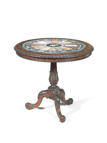 A William IV rosewood and pietre dure specimen marble centre table attributed to Gillows