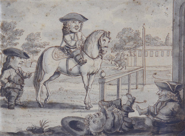 Dutch School, late 17th Century Dwarfs riding