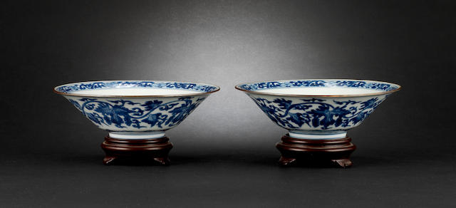 A pair of blue and white bowls Jaijing six-character marks
