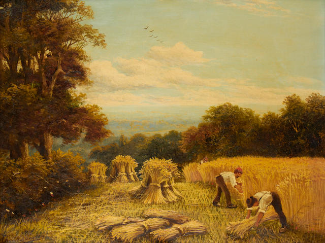 Charles Passey, Harvesters, oil on canvas