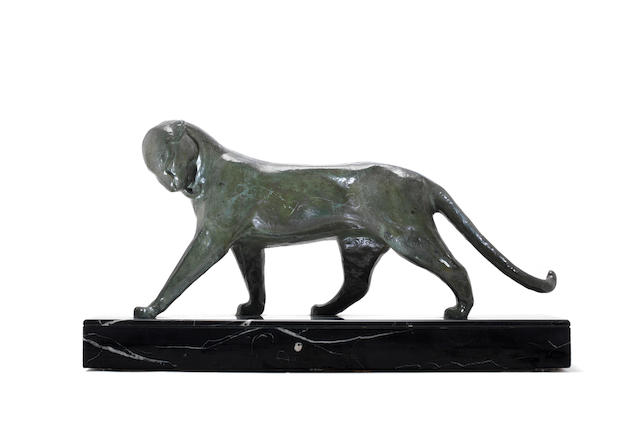 Decaux an Art Deco Patinated Bronze Model of a Panther, circa 1925