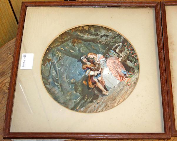 John Edmund Buckley (British, 1824-1876) Figures in woodland 21.5cm diameter.
