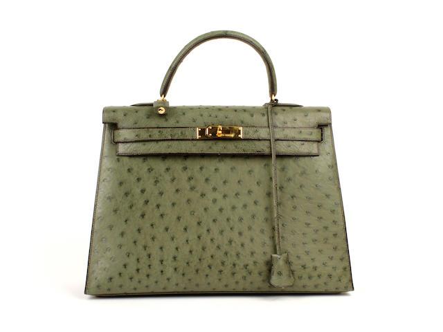 An Hermès mid green ostrich Kelly bag, 1995