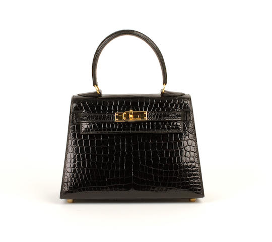 An Hermès black patent crocodile mini Kelly bag, 1997