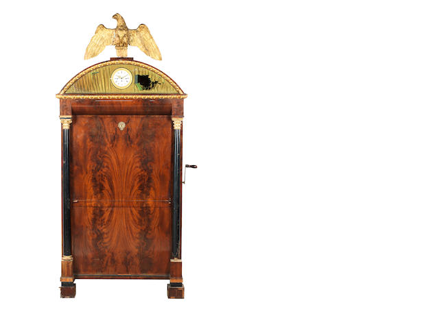 A large chamber barrel organ-secretaire á abuntant with timepiece, by Joh. Palven, Italian, circa 1830,