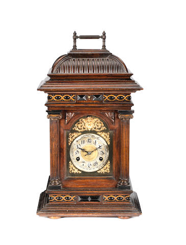 A 5.3/4-inch Symphonion disc musical bracket clock, circa 1901,