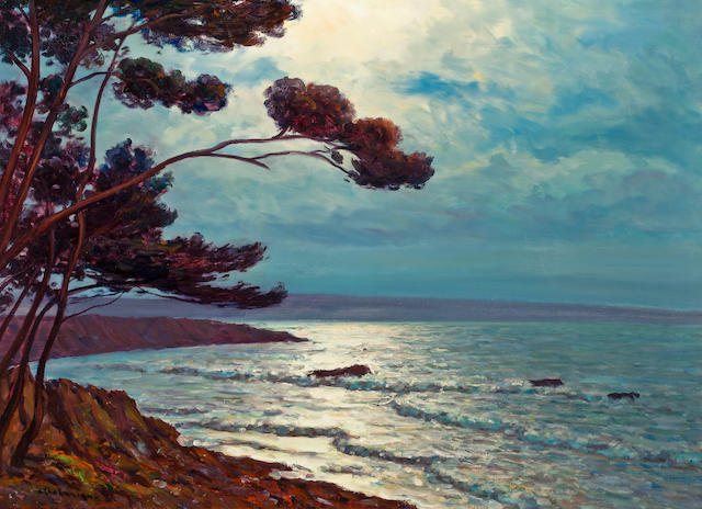 Arsene Chabanian, View of the Mediteranean Sea, Oil on Canvas