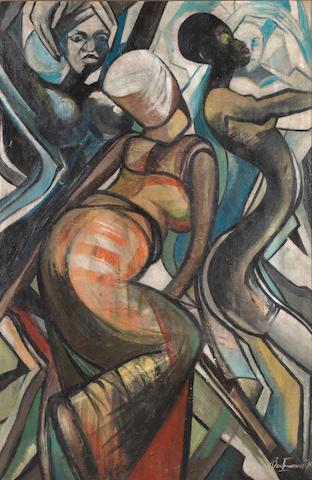 Ben (Benedict Chukwukadibia) Enwonwu, M.B.E (Nigerian, 1917-1994) 'Dance Ensemble II'