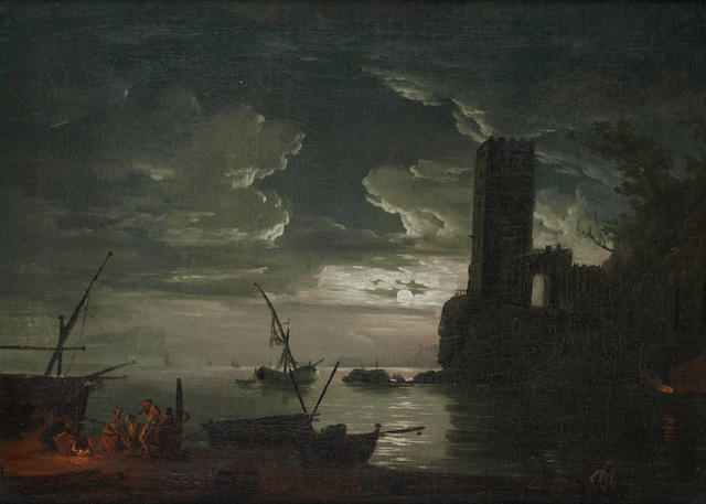 After Claude Joseph Vernet, 18th Century A moonlit harbour with figures around a campfire,