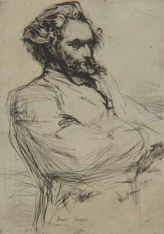 James Abbott McNeill Whistler (American, 1834-1903) Drouet Etching, 1859, on wove, second and final state, with heavy lines on the right sleeve and lines across the signature and date, 225 x 152mm (8 7/8 x 6in)(PL)