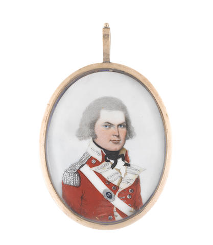 Frederick Buck (Irish, 1771-circa 1840) Captain Benjamin Follett of the 13th Regiment of Foot (d.1833), wearing red coat with white facings, silver lace, buttons and epaulettes, white cross belt with navette shaped belt plate of the 13th, white frilled chemise, black stock and ribbon tie, his hair powdered